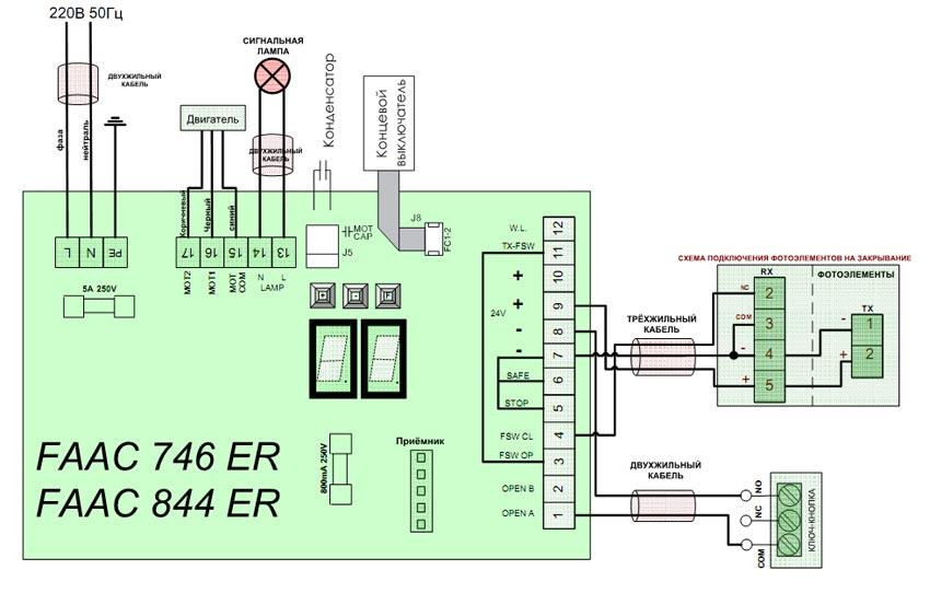 Схема подключения привода FAAC